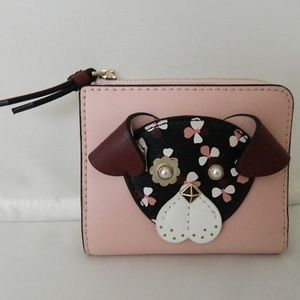 KATE SPADE Floral Pup Small BiFold Wallet